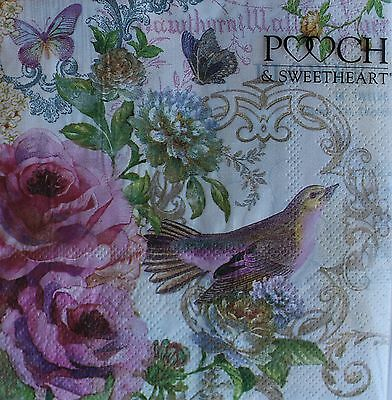 *POOCH & SWEETHEART Set of 10 Luncheon Decoupage Paper Napkins~Floral~Roses~Bird