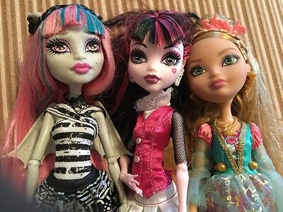 Lot Of 3 Monster High/ever After High Dolls With Clothes And Stands