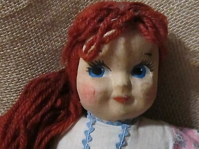 """Vtg 30's 13"""" Painted Mask Face Stuffed Cloth Doll Red Yarn Hair"""