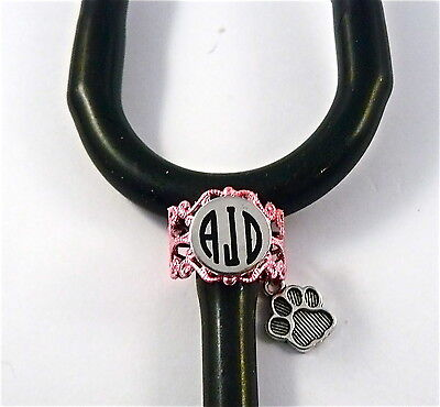 Stethoscope Id Tag Ring Pink Lace Charm, Dog Paw,monogrammed,nurse,vet.er,tech