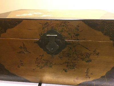 (2) Antique Asian Wood Trunk Chest Gold Designs