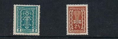 STAMPS  AUSTRIA 1922-24  2&2 1/2 Kr.  HAMMER & ZANGE (MINT HINGED/MLH) Part Set