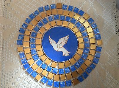 Blue And Gold Christmas Dove Hand Made  Painted / Cut Decorative Mosaic Tiles