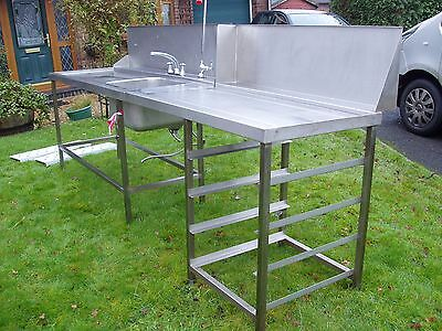 Stainless Catering Kitchen Single Bowl LH Drainer separate counter & splashback