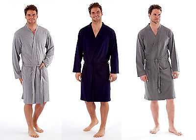 Mens Lightweight Polyester Cotton Jersey Dressing Gown Kimono Robe M-XXL