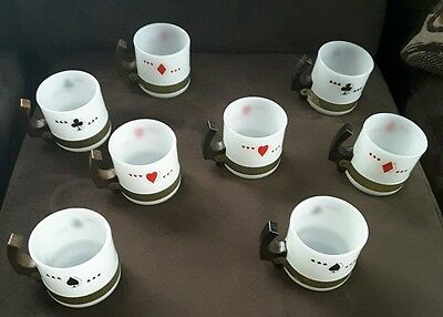 2 sets 8 Vintage Siesta Ware Playing Cards Cups Mugs Milk Glass Wooden Handles