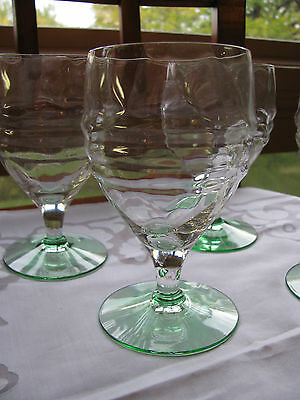 PORTSMOUTH GOBLET LOT 4 HEISEY Glass Water Goblet Crystal Moongleam Foot