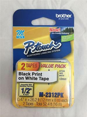 """NEW Genuine 2 Pack Brother P-touch M-231 Label Maker Tape 1/2"""" M231"""