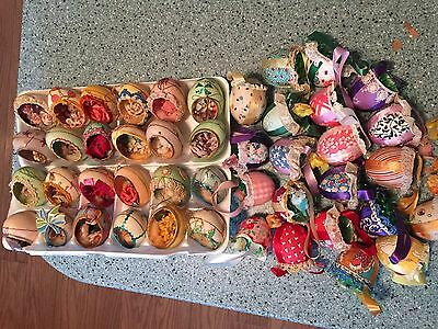 Vintage 45 Easter Eggs Real Eggs Decorated Material Small Chicks Bunny & Other