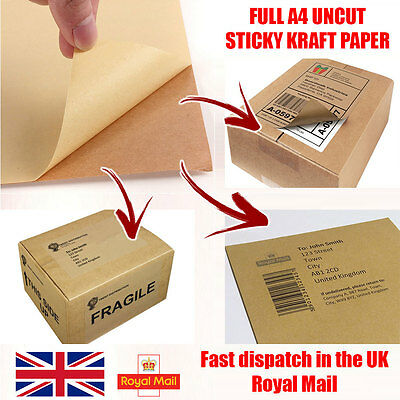 A4 Self Adhesive KRAFT PAPER Sticky Sticker Address Labels Printing Sheets Post