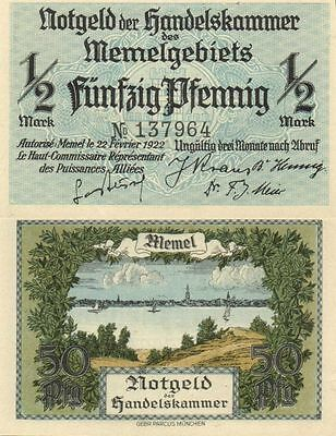 MEMEL / LITHUANIA / GERMANY - 50 Pfennig  1922     P.1    6 digits serial   UNC-