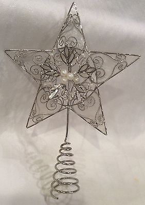 "Vintage Victorian Filigree Wire Pearl Capiz Shell 10 3/4"" Tree Topper"