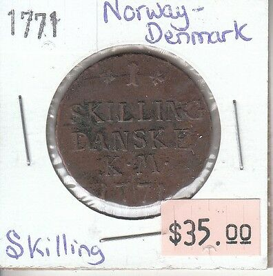Norway-Denmark Skilling 1771 Circulated