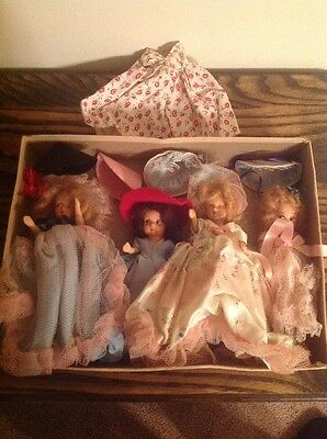 Lot Of 4 Vintage Bisque Dolls With Extra Dress And Hats