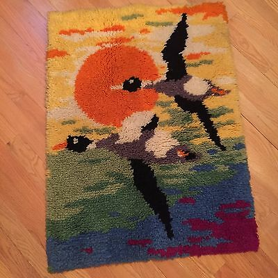 Vintage Shillcraft Latch Hook Rug Geese 1970s Style Wall Hanging Completed Rug