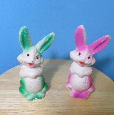 2 vintage paper mache pressed pulp paper bunny rabbits green & pink