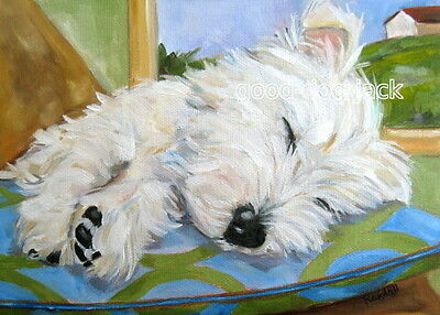 """West Highland Terrier ACEO WESTIE PRINT Painting """"LITTLE ANGEL"""" Dog RANDALL"""