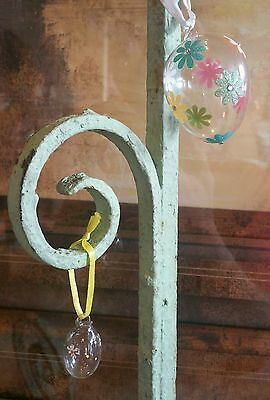 Set 2 Vintage Blown Glass Hand Painted Easter Egg Ornament Flowers EUC
