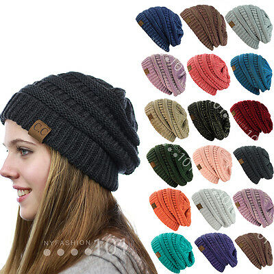 Brand New Colors Cc Beanie Two Tone Women Cable Knit Super Cute Beanie Unisex
