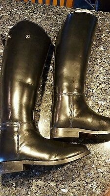 Rhinegold Olympic Long Leather Riding Boots-Size 7- Medium Width-Black-Free P&P