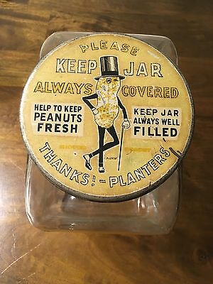 Vintage 1940's Planters Peanuts Glass Country Store Countertop Display Jar