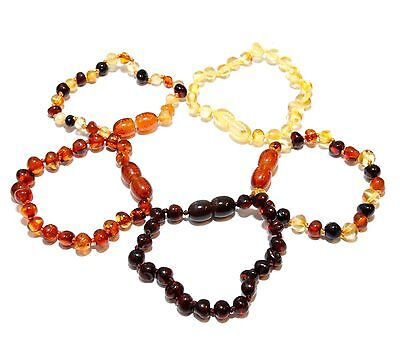 Genuine Baltic Amber Round Beads Baby Anklet Bracelet 5.3 - 5.7 in Choose Color