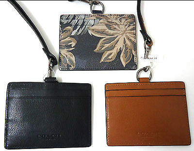 NWT Coach ID Lanyard LONGER Holder Badge Credit Card Case Black Brown F 63629