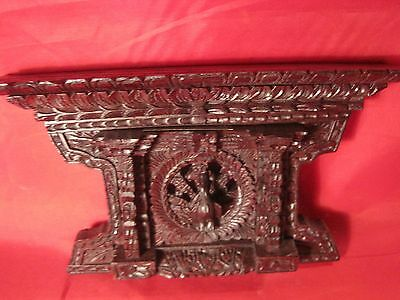 Vintage  Dubai Asian Black Forest Style Fretwork Peacock Shelf Hand Carved