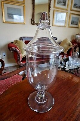 Pittsburgh Glass Apothecary Store Display Tall Covered Jar C1850