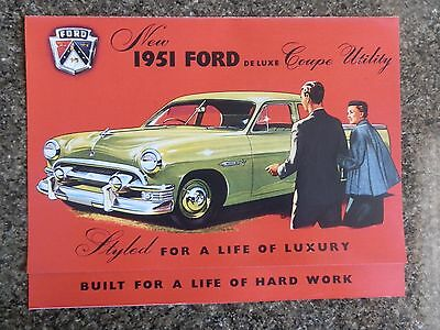 1951 Ford Coupe Utility ''rare'' Aust Rhd Sales Brochure. 100% Guarantee