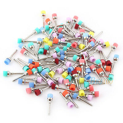 New 100pcs Mixed Color Nylon Latch Flat Polishing Polisher Dental Prophy Brushes