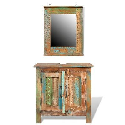 # Reclaimed Recycled Wood Bathroom Vanity Cabinet Unit Mirror Storage Cupboard