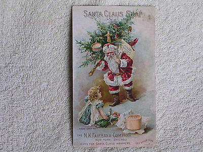 Santa Claus Soap 1880s Trade Card Listing Premiums & Prizes for Soap Wrappers