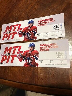 Montreal Canadiens vs Pittsburgh Penguins Tickets 01/18/17 (Montreal)
