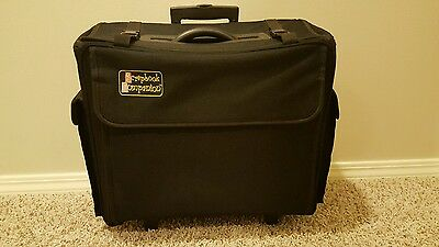 Scrapbook Companion Rolling Tote with Collapsible Handle in Black.