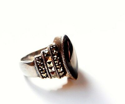 Art Deco Style Sterling Silver Marcasite Black Onyx Ring