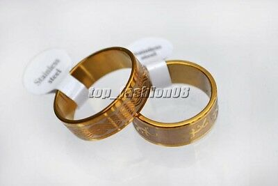 Lots 12pcs golden 1.2mm thick mixed pattern Stainless steel rings 17-22mm #R265