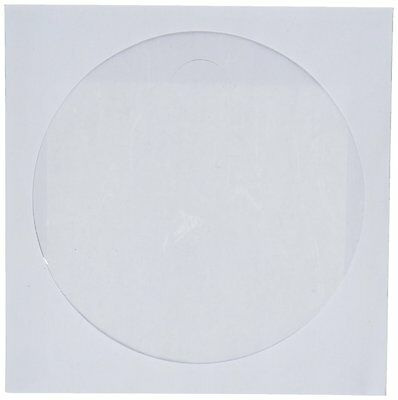 CD/DVD White Paper Sleeves with Clear Window, 250 Pack