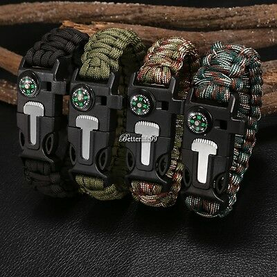 Rope Paracord Survival Bracelet Flint Fire Starter Compass Whistle Outdoor BF9@