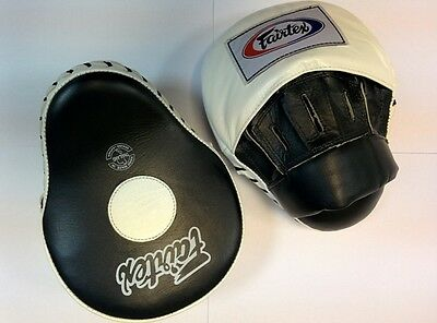 Fairtex Focus/punch Mitts Fmv-10 Pair Kick Boxing Mma Wh/bk Only Aus Stock
