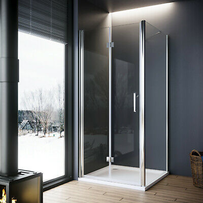 Frameless Shower Enclosure Bifold Door & Tray Hinged Glass Screen Side Panel