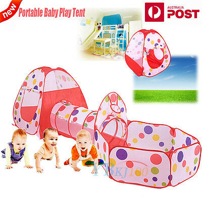 Baby Play Tent Kids Toddlers Tunnel Pop Up Children Playhouse Basketball Pool