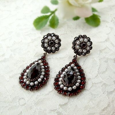 Vintage garnet drop earrings w/seed pearls and 14ct gold studs Victorian style