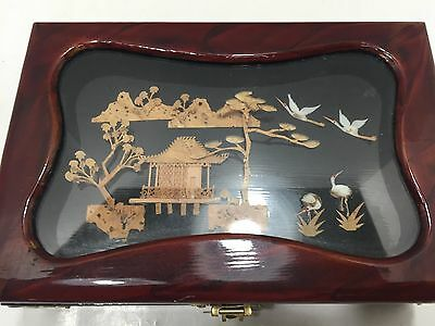 Oriental Shadow Box Lacquered Wood Jewelry Box