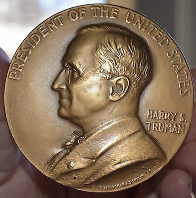 """1949 HARRY S TRUMAN US MINT INAUGURAL BRONZE MEDAl 3"""" SOLD OUT US MINT"""