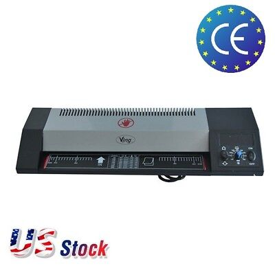 "Steel Thermal Laminator A3 A4 Hot & Cold 13"" Machine Roller Pouch Photo Office"