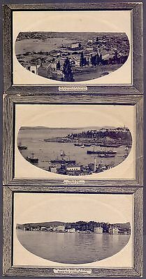 A77,turkey,constantinople,3 Old Postcards Lot,faults,ships Architecture