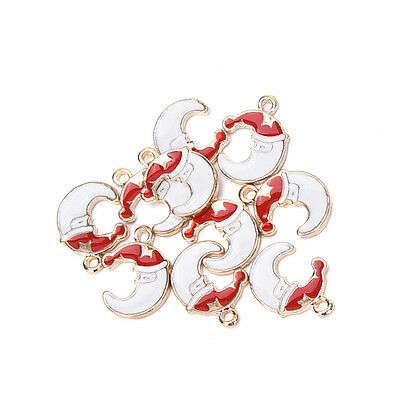 10 pcs Xmas Christmas Mix Silver Plated Enamel Pendants Charms liau
