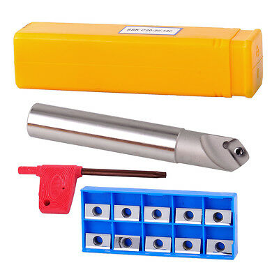 45° SSK C20-20-130 Indexable Chamfer End Cutter & 10 Carbide Mill Insert Blade