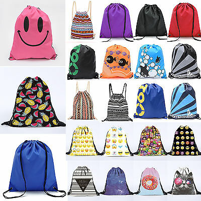 Drawstring Cinch Rucksack Backpack Sports Gym Beach Travel Outdoor String Bags